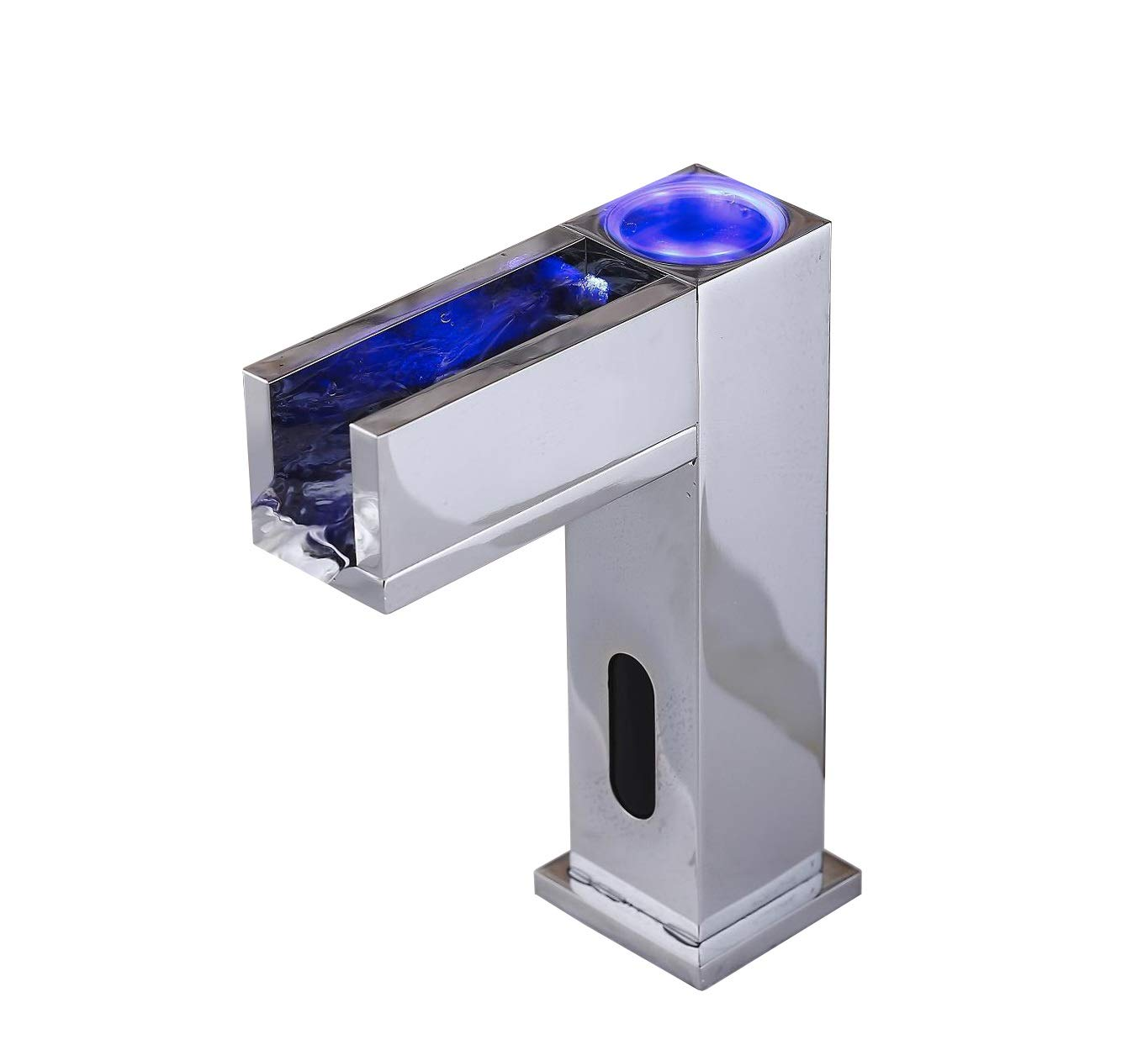 Gangang Led Automatic Touchless Sensor Waterfall Bathroom Sink Vessel Hot and Cold Faucet (waterfull B)