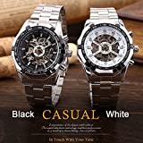 Smalody WINNER Men Watch Stainless Steel Skeleton Watches Mechanical Wristwatch Analog-digital Mens Clock