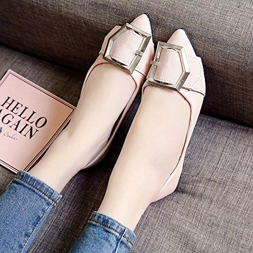 RUGAI-UE Las mujeres Verano señaló zapatos planos cómodos zapatos de hebilla de metal Pink