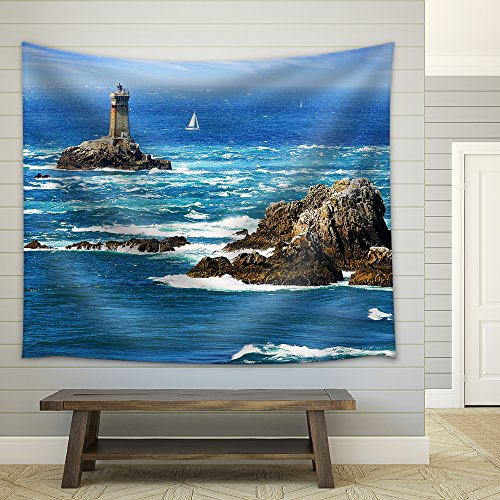 Lighthouse on Cape Sizun Pointe Du Raz Brittany France Fabric Wall