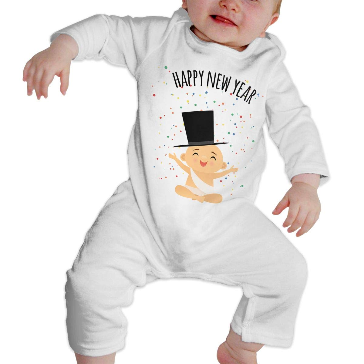 Baby O-Neck Long Sleeve Solid Color Climbing Clothes Baby Celebrating New Year Crawling Suit