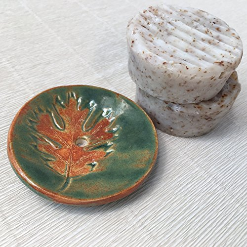 JANECKA Two Peppermint Hand-milled Soaps / One Fall Leaf Handmade Pottery Dish / Gift (Pottery Mint)