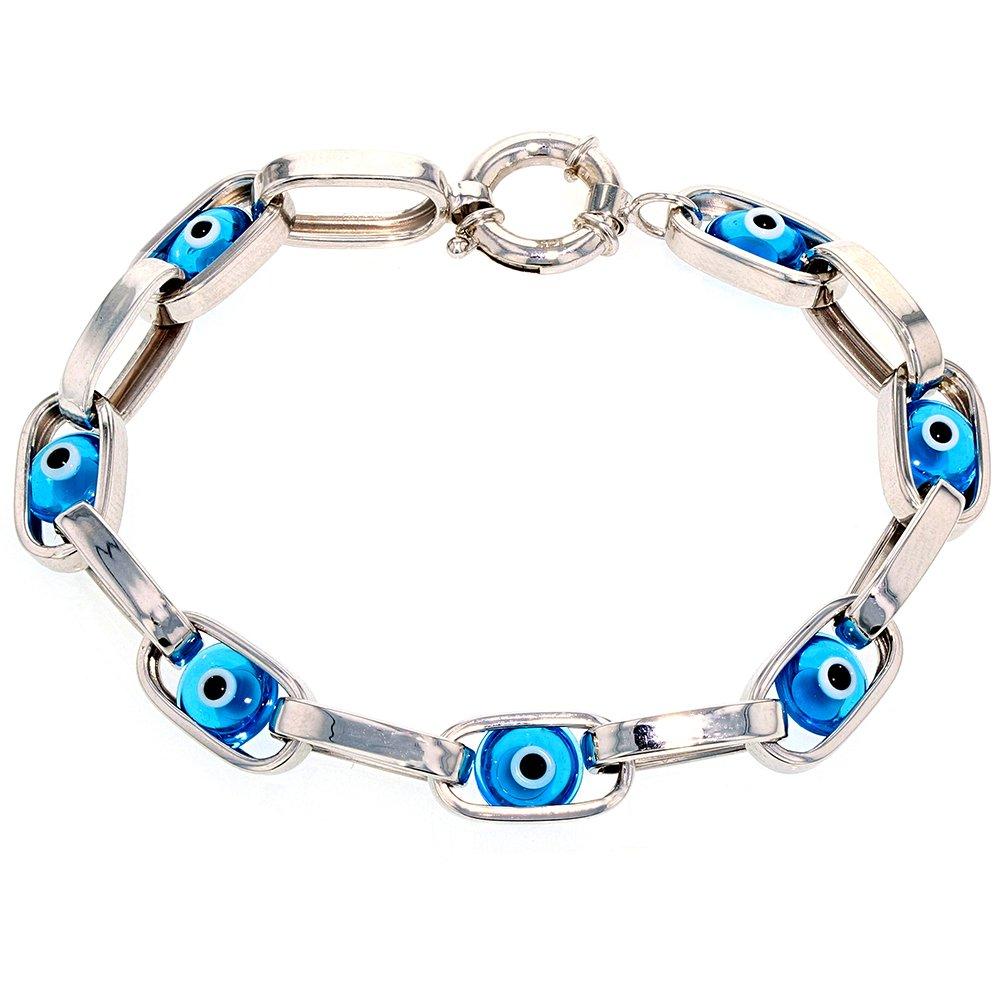 JewelryAmerica Polished 14k White Gold Eye of Nazar Blue Evil Eye Bracelet, 8.5''