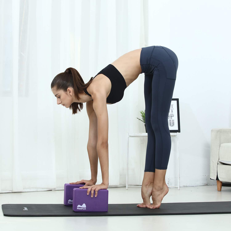 REEHUT Bloques de Yoga (1pc o 2pcs) - Bloque de Espuma EVA de Alta Densidad para Apoyar y Profundizar Las Poses, Mejorar la Fuerza y Ayudar en el ...