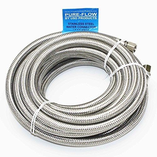 Universal Stainless Steel Braided Water Line | 20' Length | 1/4