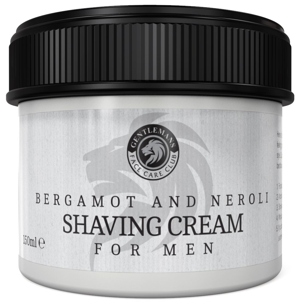 Shaving Cream - Luxury Shave Cream From Gentlemans Face Care Club - Large 90 Day Supply 150ml Pot + 100% Money Back Guarantee (Bergamot & Neroli)