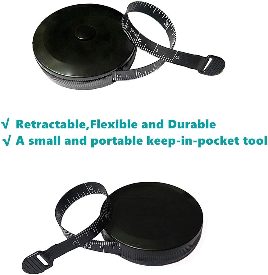 2 Pack 60-Inch 1.5 Meter Soft and Retractable Measuring Tape for Body Fabric Sewing Tailor Cloth Knitting Craft Measurements with Push Button Round Retractable Dual Sided Black
