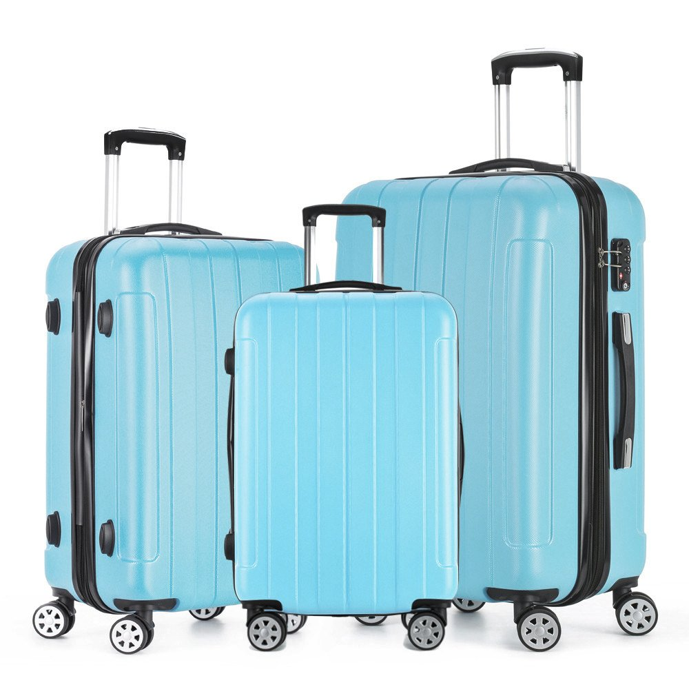 Fochier Luggage 3 Piece Set Lightweight Expandable Spinner Suitcase