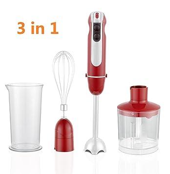 Batidora de Aifeel con accesorios, varilla eléctrica, batidor Ballow, cuchilla y vaso medidor para cocina 3 in 1 rojo: Amazon.es: Hogar
