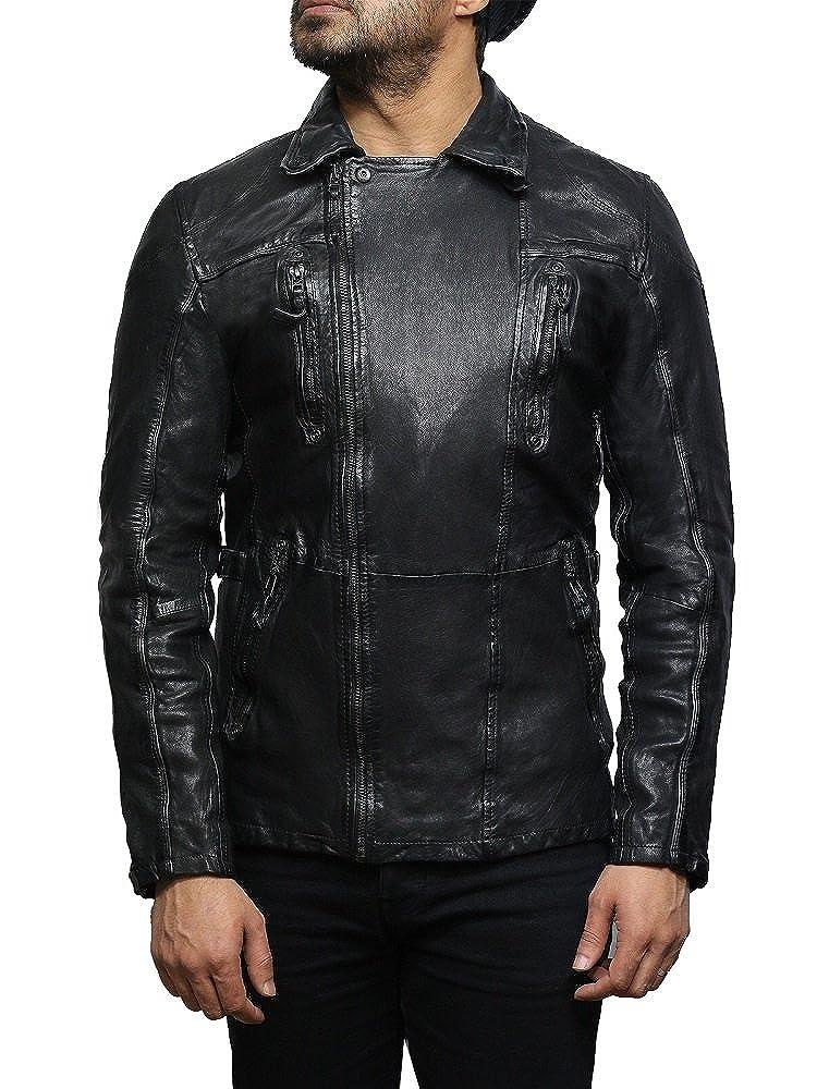 Brandslock Veste de moto en cuir dagneau pour homme en cuir dagneau ... 42cdba6fd5c