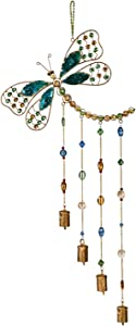 Evergreen Garden Beautiful Summer Dragonfly Beaded Decorative Wind Chime - 13 x 1 x 31 Inches Fade and Weather Resistant Outdoor Decoration for Homes, Yards and Gardens