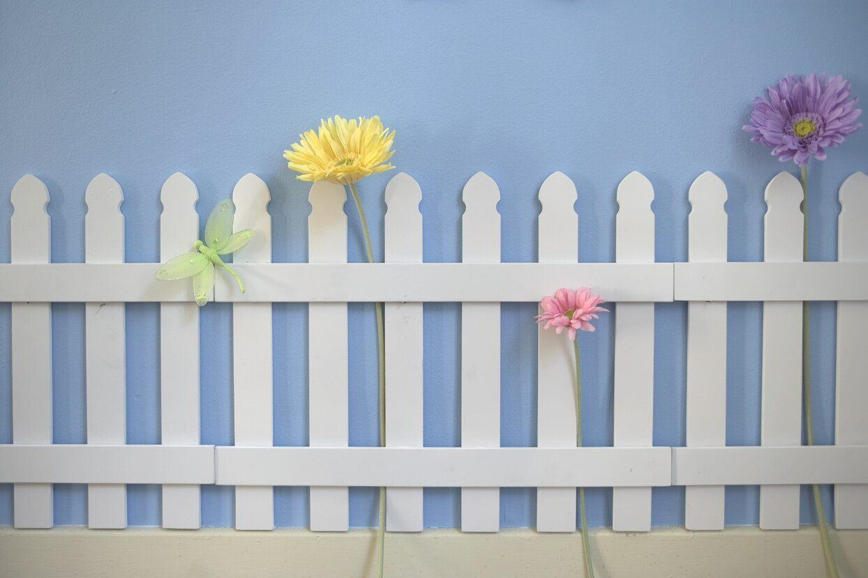 Amazon.com: Butterfly Garden Decor For Kids Room Wall Border Picket Fence  2pc Set: Baby