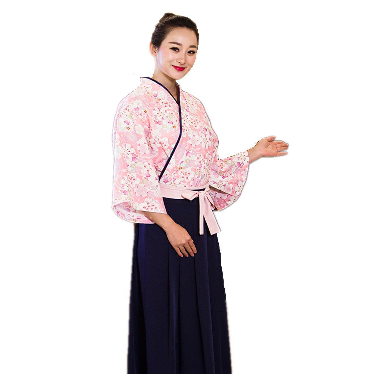 XINFU Sushi Waitress Uniform Pink Sakura 3/4 Long Sleeve Restaurant Japanese Kimono Kitchen Work Coat