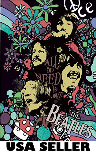 Beatles colorful artsy POSTER 23.5 x 34 All You Need is Love John Lennon Paul McCartney George Harrison Ringo Starr (sent FROM USA in PVC - Paul Poster Mccartney