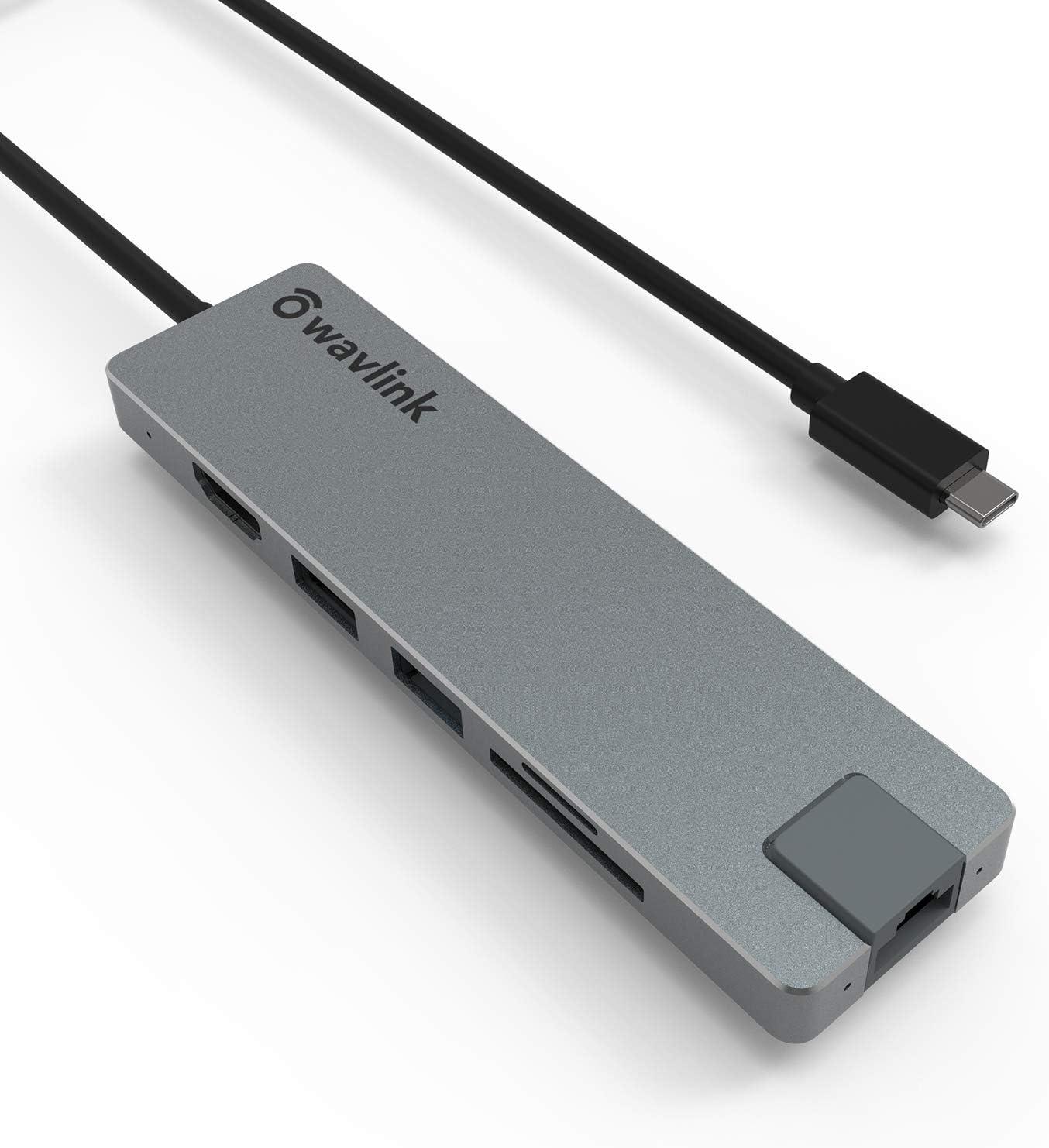 USB C Hub, WAVLINK Portable USB Hub with 100W Charging & 4K HDMI, Slim USB C Adapter for Laptop with Gigabit Ethernet, SD/TF Card Reader, 2xUSB 3.0, 1xUSB C, Support MacBook, Flash Drive, Mobile HDD