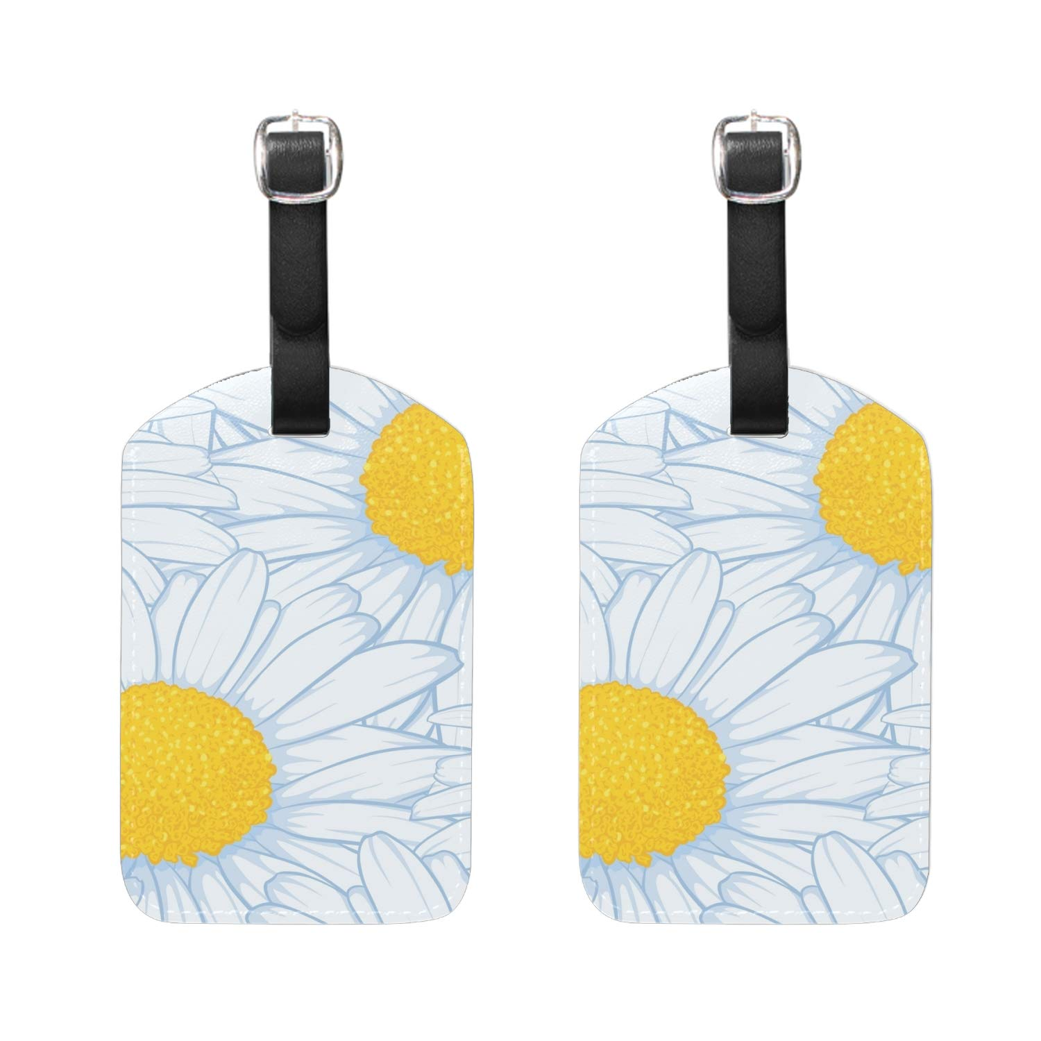 Butterflies On Blue Luggage Tag Travel ID Label Leather for Baggage Suitcase 2 Piece