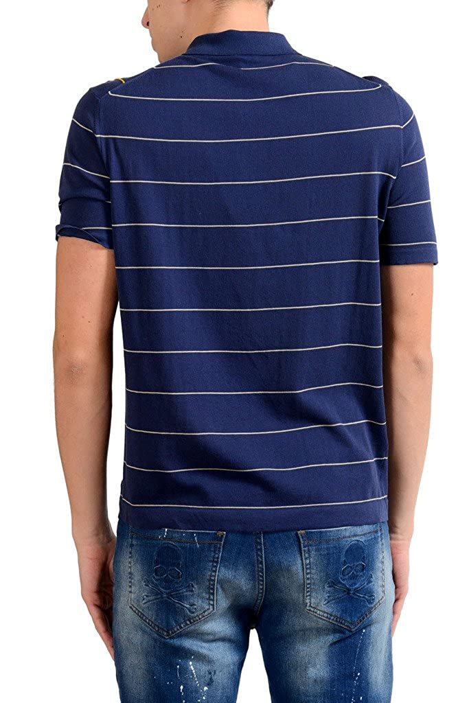MALO Mens Blue Striped Knitted Short Sleeve Polo Shirt