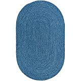 Decomall Azure Solid Color Braided Indoor Outdoor Area Rugs, Blue 6'x9' Oval