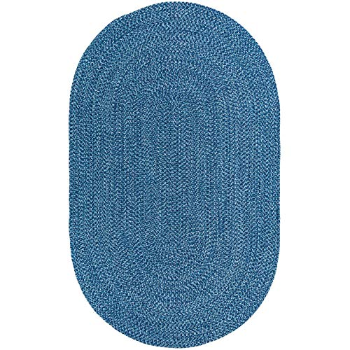 Decomall Azure Solid Color Braided Indoor Outdoor Area Rugs, Blue 3'x5' Oval