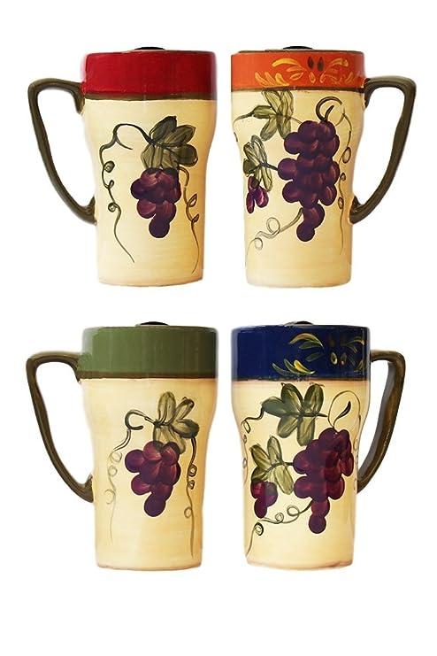 Colorful Grapes 4 Piece Travel Mug Set  sc 1 st  Amazon.com & Amazon.com: Colorful Grapes 4 Piece Travel Mug Set: Kitchen u0026 Dining