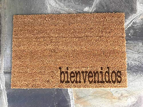BIENVENIDOS Spanish Hello Welcome Door Mat Doormat Front Entry Way Laser Burnt Natural Trampa Ikea Brand Print FREE Shipping