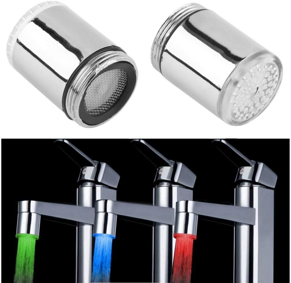 23.5mm//0.925in 3 Color LED Light Changing Glow Temperature Sensor Shower Stream Water Faucet Tap for Kitchen Bathroom