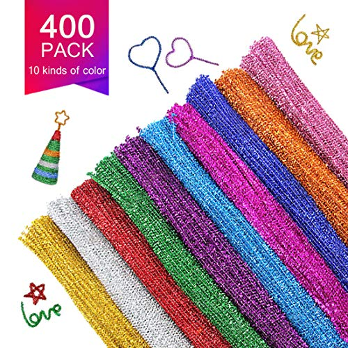 Pipe Cleaners, 400 Pcs Chenille Stems in 10 Colors for DIY Arts and Craft Project Decoration, (6mm x12inches)