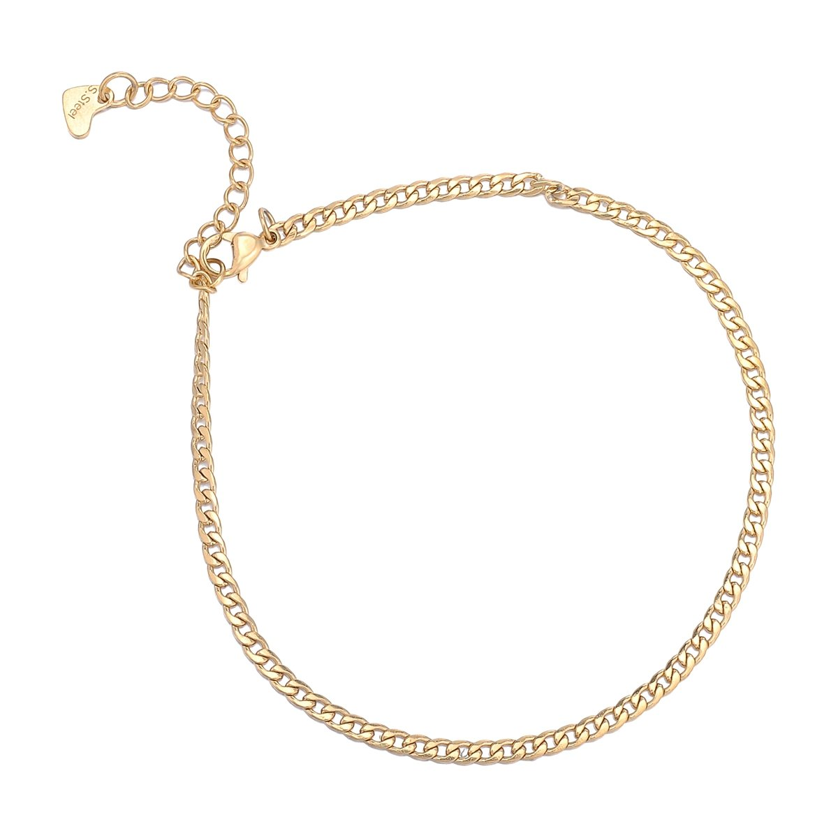 HooAMI Gold Palted Stainless Steel Anklet Curb Chain Ankle Bracelet for Women & Girls Terrific-Young BETY134484