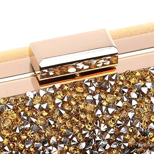 color Bolso Señoras Las La Diamante Gold Embrague Banquete Manera Haxibkena Vestido Del De Gold Noche 7nRUzqdw