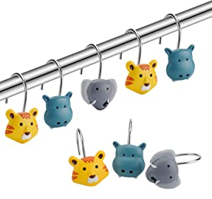 Amazer Shower Curtain Hooks Rings, Metal Decorative Resin Hooks Shower Curtain Rings for Bathroom Shower Rods Curtain and Liner, Colorful Tiger Elephant Hippo, 12 PCS