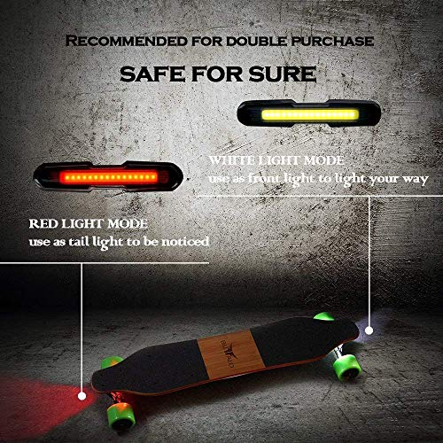 I-WONDER Skateboard Headlights and Taillights, USB Rechargeable Safe Lights, Waterproof LED Flashing Safety Rear Light, Easy to Install for Electric Longboard/Bikes/Helmets by I-WONDER (Image #1)