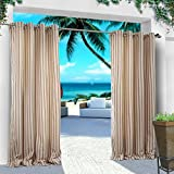 COFTY Indoor/Outdoor Curtains and Drapes Eco-friendly For Patio| Porch| Gazebo| Pergola | Cabana | dock| beach home - Nickle Grommet - White Red - 150Wx102L Inch (1 Panel)