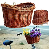 Sundlight Bike Basket, Woven Wicker Bicycle Front Basket for Shopping Storage