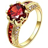 YELLOW CHIMES Dazzling Imperial Red Austrian Crystal Gold Plated Ring for Women & Girls