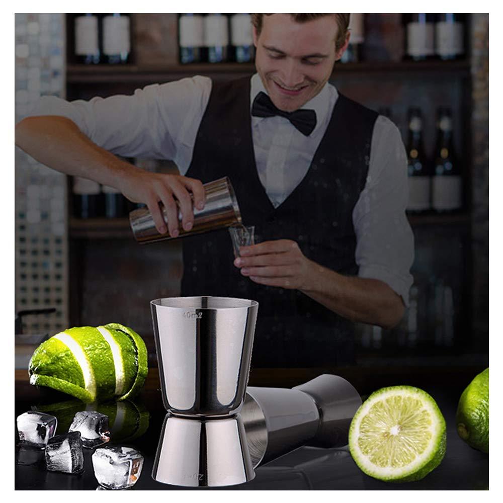 2 Pcs Double Measure Spirit Liqueur Cocktail Tasse /à Mesurer pour Bar Party Boisson Vin Cocktail Shaker centtechi Doseur /à Alcool Acier Inoxydable S