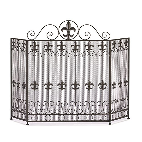 Fire Screen for Fireplace, Antique Rustic French Revival Fireplace Screens Black