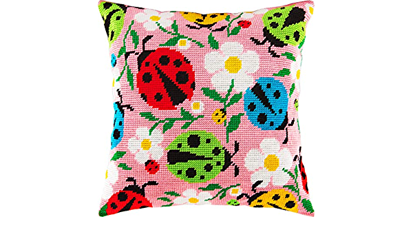 Ladybugs and Flowers Throw Pillow 16/×16 Inches Needlepoint Kit Printed Tapestry Canvas European Quality