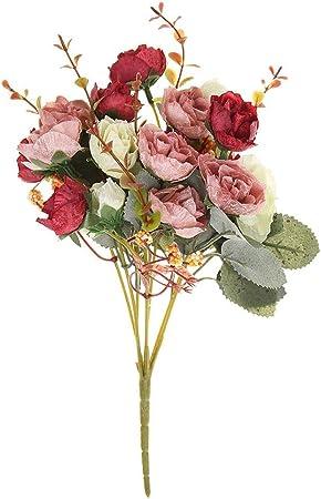 Decorazioni Fiori.Ueb 21 Teste Bouquet Di Fiori Artificiali Seta Rose Finte Per