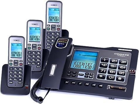 WDWL Teléfono, con Conexión De Cable Fijo De Combinación Fija Y Sin Cable De La Máquina, Libre De Intercomunicación, Llamada A Tres, Uno-a-uno Oficina (Negro) (Color : C): Amazon.es: Electrónica
