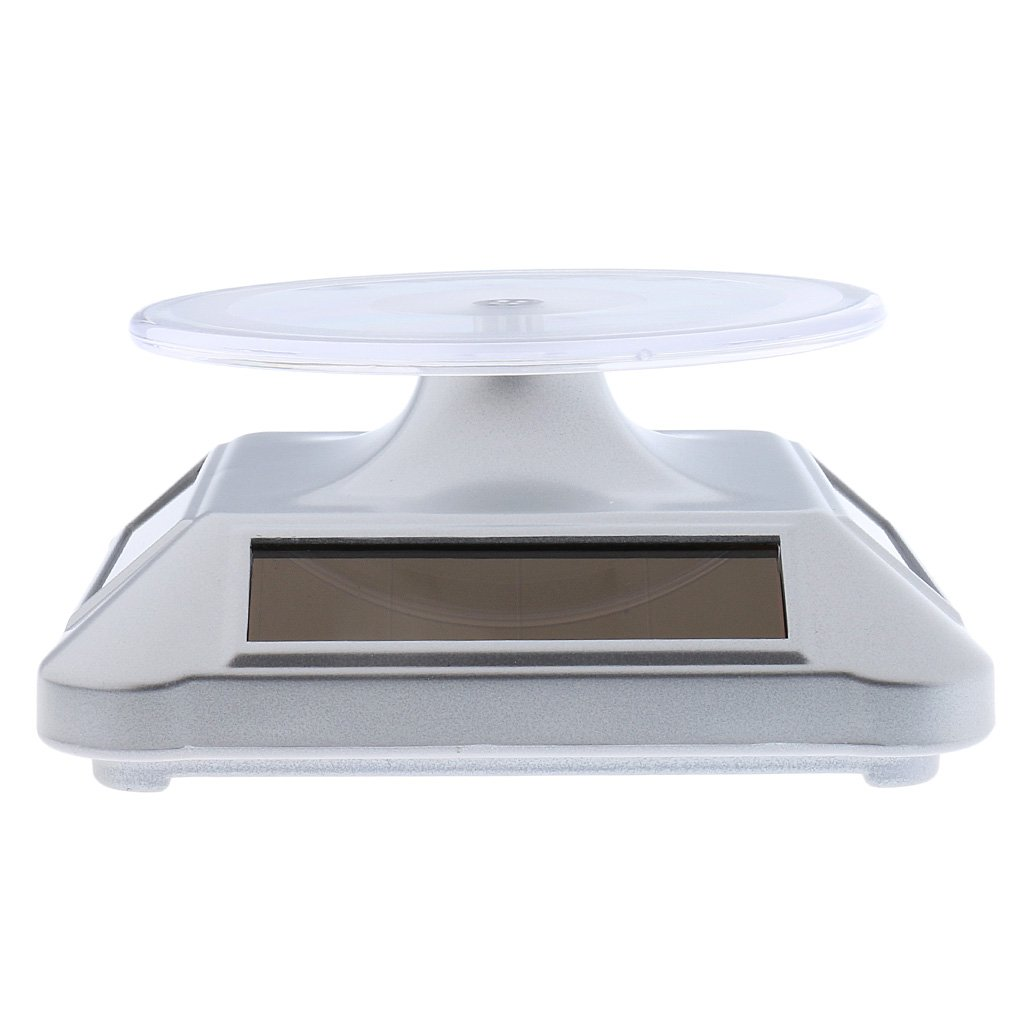 Dovewill 1x Solar Powered Rotating Turntable Phone Watch Display Stand for Exhibition - Silver, as described