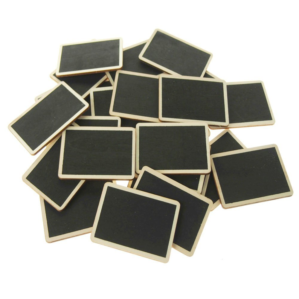 Chalkboard Wooden Rectangular with Natural Border, 3-inch, 25-pack