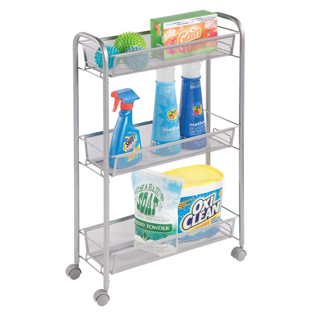 mDesign Portable Rolling Laundry Utility Cart Organizer Trolley with Easy-Glide Wheels and 3 Multipurpose Heavy-Duty Metal Mesh Basket Shelves - Narrow Shelf - Durable Steel Frame - Silver