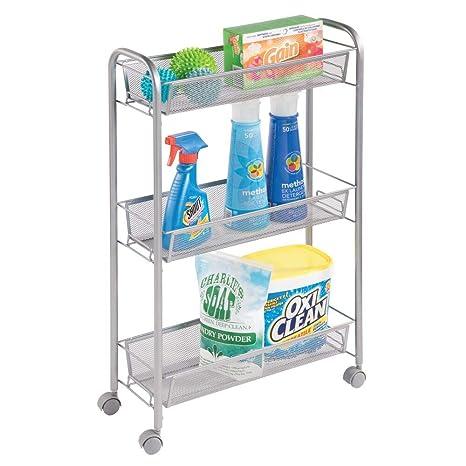 mDesign Estantería con ruedas para lavadero – Compacto mueble auxiliar para guardar detergente, quitamanchas,