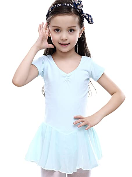 Feoya - Vestido de Baile Ropa para Ballet de Algodón Leotardo con Braguita Interior Mangas Cortas