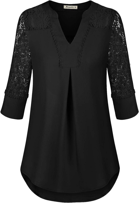 Moyabo Womens Lace Patchwork 3/4 Sleeve Split V Neck Casual Office Shirts Chiffon Blouse Tops