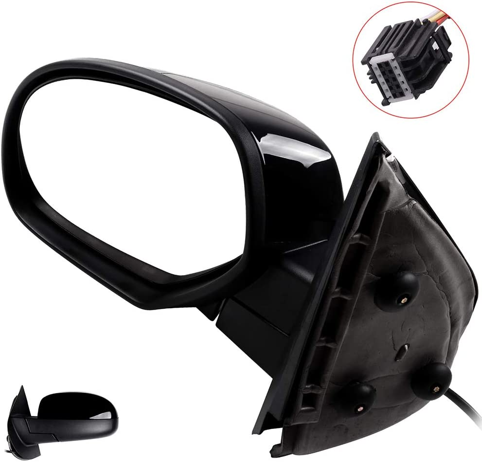 AUTOMUTO Black Rear-Vision Mirror Left Side View Mirror Power Heated Manual Folding Fit Compatible with 2007-2013 Chevy Avalanche 1500,2008-2013 GMC Sierra 1500