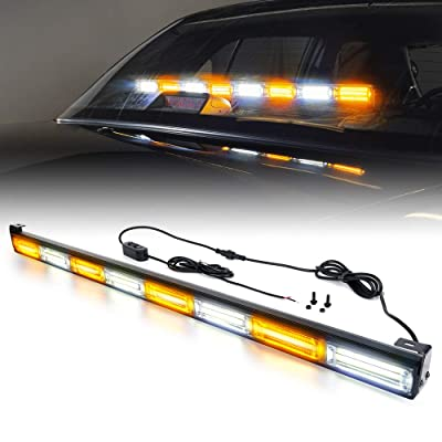 Xprite 35 Inch White Mix Amber COB Traffic Advisor Strobe Light Bar w/ 21 Flash Patterns, Hazard Warning Directional Flashing Safety Lights for Emergency Vehicles Trucks Roof Interior Windshield: Automotive