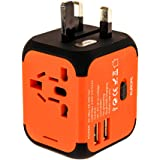 New Universal Travel Adapter Electric Plugs Sockets Converter Uk/EU/US/AU with Dual USB Charging 2.4A LED Power Indicator Electric Plugs UK EU US AU International Travel Plug Adaptor Charge (Orange)