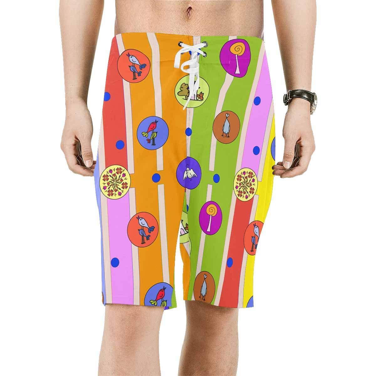 XS-6XL INTERESTPRINT Mens Quick Dry Swim Trunks House Flowers Birds Swimwear Water Board Shorts