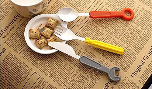 Checkout Lovely tool like dinnerware 3pcs Fork+knife+spoon,Child toy stainless steel+silicone dinnerware saleoff